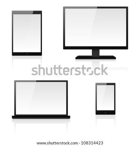 Raster version. Digital devices. Illustration for design on white background