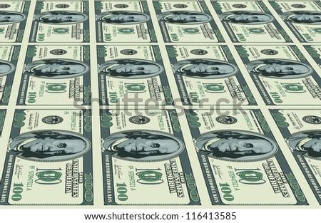Raster version. Dollars background. Illustration for Your creative design
