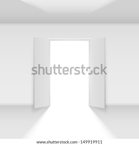 Raster version. Double open door with light. Illustration on empty background