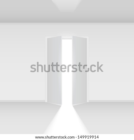 Raster version. Double open door with light. Illustration on white empty background