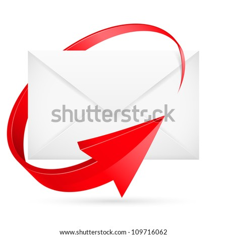 Raster version.  E-mail with arrow. Illustration for design on white background