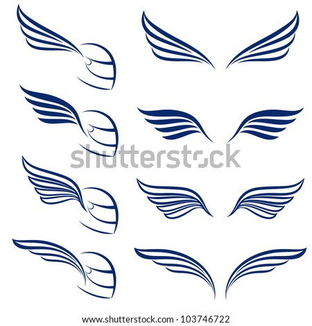 Raster version. Elements of design racing wings. Illustration on white background.