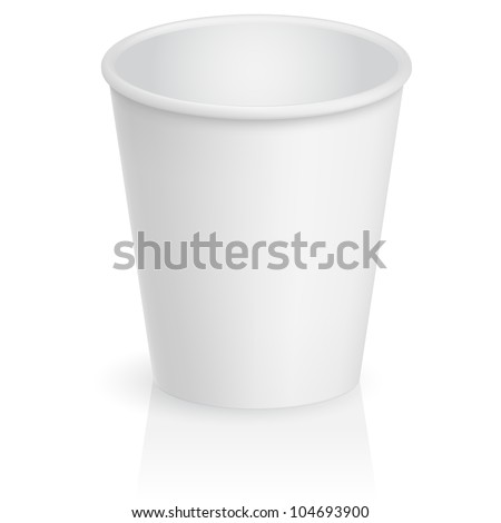 Raster version. Empty cardboard cup. Illustration on white background