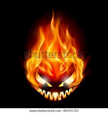 Raster version. Evil burning Halloween symbol. Illustration on black background