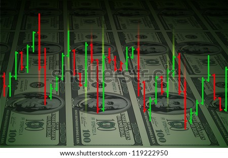 Raster version. Exchange chart on dollars background. Illustration for design