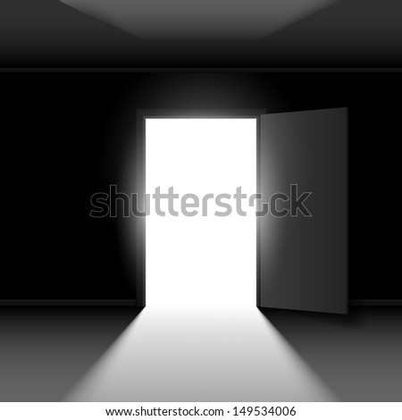 Raster version. Exit door with light. Illustration on dark empty background