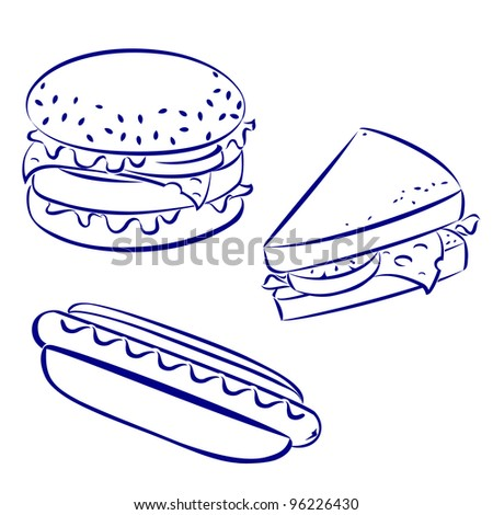 Raster version. Fast food icons, black and white hand-drawn look: hamburger, hot-dog, cheese sandwich