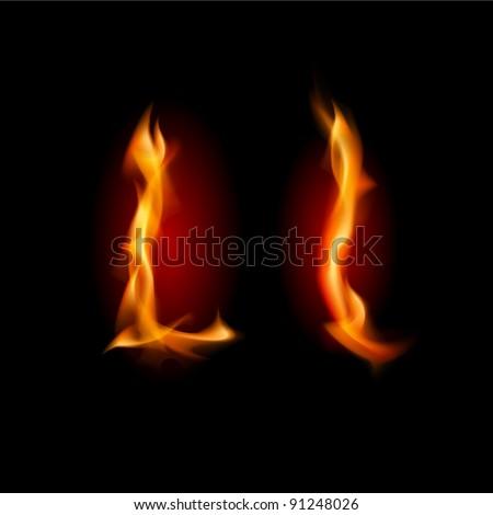Raster version. Fiery font. Letter L. Illustration on black background