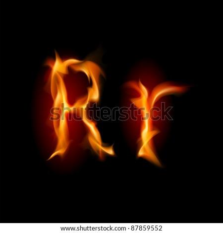 Raster version. Fiery font. Letter R. Illustration on black background