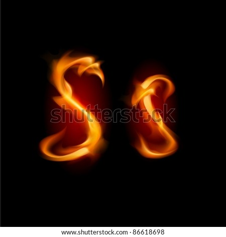 Raster version. Fiery font. Letter S. Illustration on black background