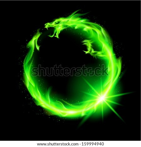 Raster version. Fire Chinese dragon in green  circle on black background.