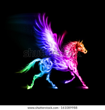 Raster version. Fire Pegasus in spectrum colors on black background.