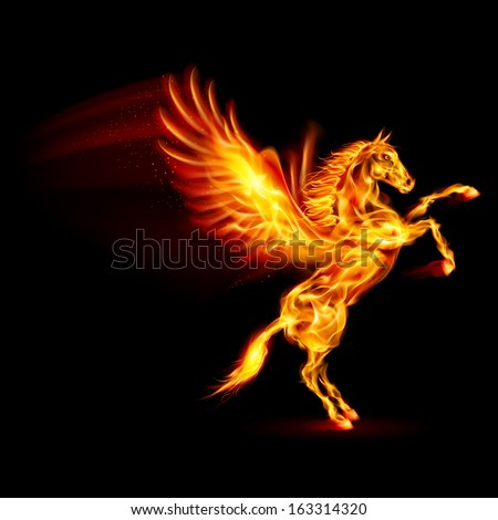 Raster version. Fire Pegasus rearing up. Illustration on black background