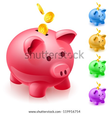 Raster version. Five colorful piggy banks. Illustration of designer on  white background - stock photo