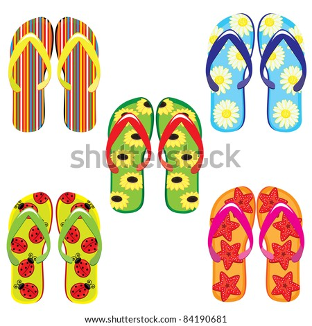 Raster version. Five pairs of colorful flip flops. Illustration on white background