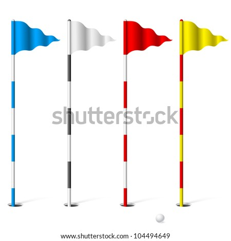 Raster version. Flags of the golf course. Illustration on white background.