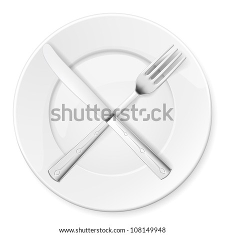 Raster version. Fork, Knife and plate isolated on white background