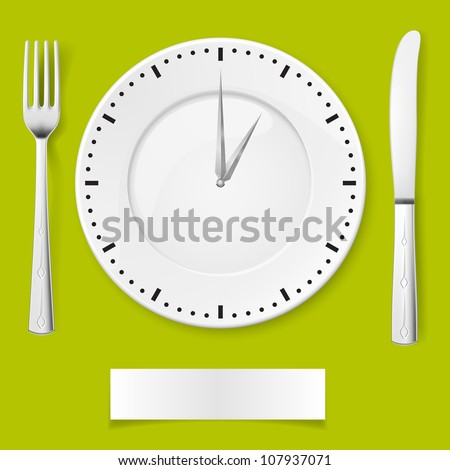 Raster version. Fork, spoon and clock-plate. Illustration for You creative ideas