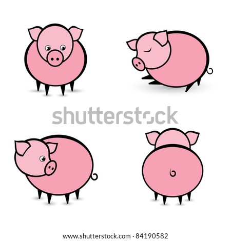 Raster version. Four abstract pigs in different positions. Illustration on white background