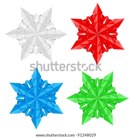 Raster version. Four colorful paper snowflakes on a white background illustration designer