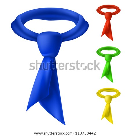 Raster version. Four colorful tie. Illustration for design on white background