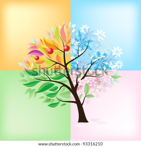 Raster version. Four Seasons Tree. Illustration on white background