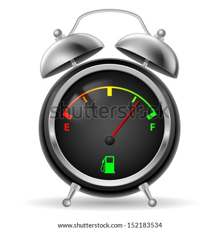 Raster version. Fuel indicator in creative retro alarm clock design. Colorful signs on black face. Illustration on white.
