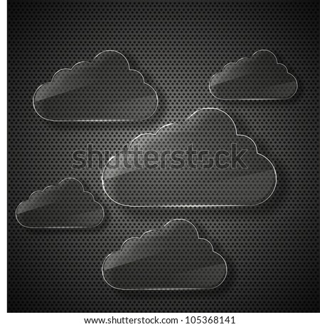 raster version. glass computer clouds background.