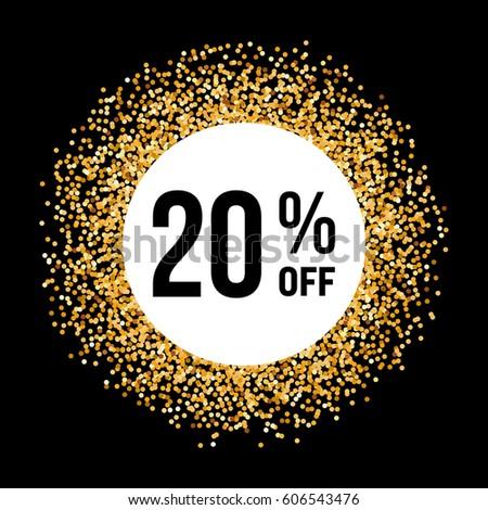 Raster version. Golden Circle Frame on Black Background with Discount Twenty Percent #606543476