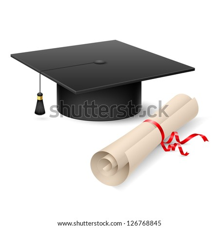 Raster version. Graduation cap and diploma. Illustration on white background