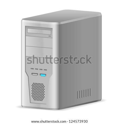 Raster version. Gray Case of Computer. Illustration on white