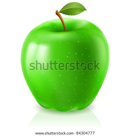 Raster version. Green apple. Illustration on white background for design