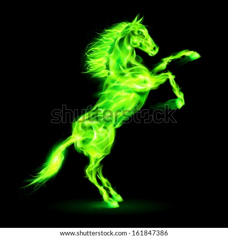Raster version. Green fire horse rearing up. Illustration on black background.