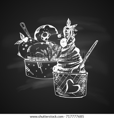 Raster version. Hand Drawn Chalk Sketch on Blackboard of Set Ice Cream in Bowls. Vintage Sketch. Great for Banner, Label, Poster