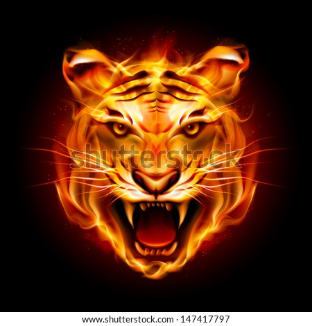Raster version. Head of a tiger in tongues of flame. Illustration on black