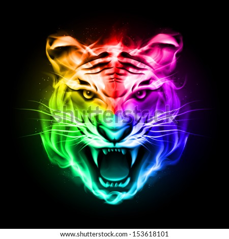 Raster version. Head of tiger blazing in spectrum fire on black background.