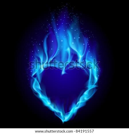 Raster version. Heart in blue fire. Illustration on black background for design