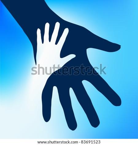 Raster version. Helping Hands Child.  Illustration on blue background for design