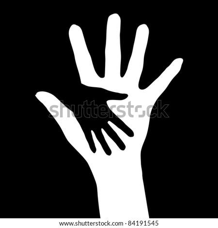 Raster version. Helping hands.  illustration on black background - stock photo