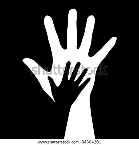 Raster version. Helping hands.  illustration on black background