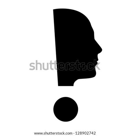 Raster version. Human face  with exclamation mark. Illustration on white