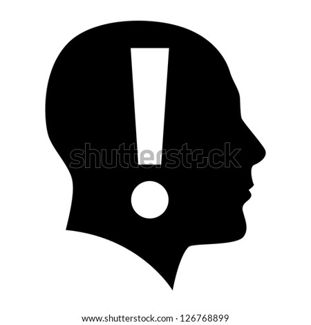 Raster version. Human face  with exclamation mark. Illustration on white background