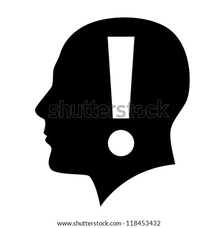 Raster version. Human head with exclamation mark symbol on white