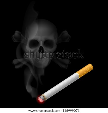 Raster version. Human scull appears in Cigarette Smoke on black