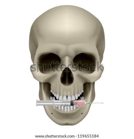 Raster version. Human skull and syringe. Illustration on white background