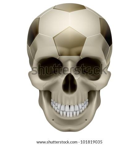 Raster version. Human Skull. Football design. Illustration on white background