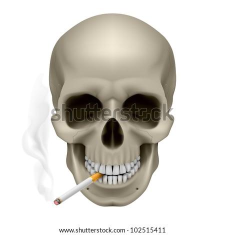 Raster version. Human Skull with a cigarette. Illustration on white background
