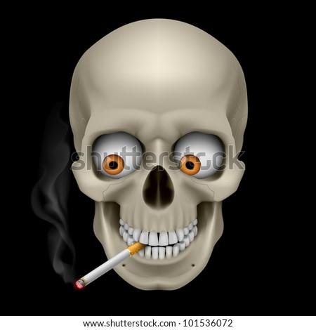 Raster version. Human Skull  with eyes and cigarette. Illustration on black background
