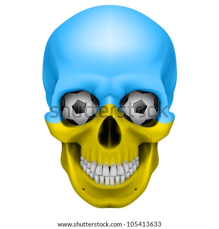 Raster version. Human Skull with Soccer balls for eyes. Illustration on white background for design