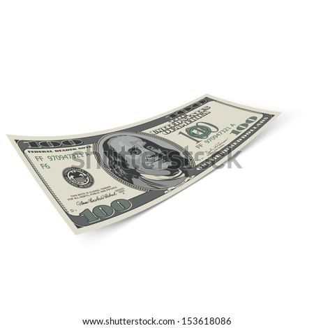 Raster version. Hundred dollar banknote on white background. Money and banking.